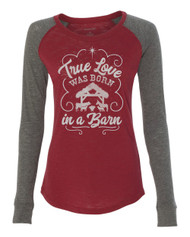True Love Cardinal/Charcoal Raglan