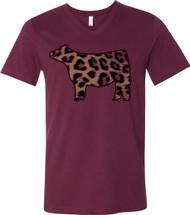 Cajun Bling Leopard V-Neck Tee