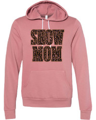Leopard Show Mom print on soft mauve hoodie