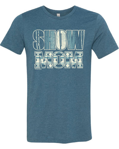 Heather deep teal tee with Aztec and Serape Show Mom print