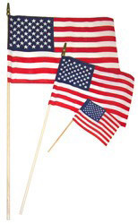 12x18 inch Hemmed U.S. Stick Flags With Spear