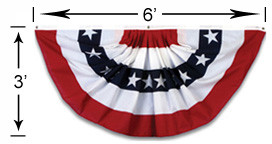 3x6 Foot Stars and Stripes Pleated Full Fan Z16105