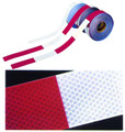 "CONSPICUITY TAPE, 150' ROLL, 2"" WIDE, 6"" RED X 6"" WHITE, DIA PATTERN"