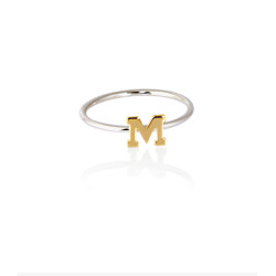 Sterling Silver Ring with 14K Initial