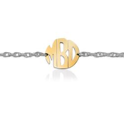 Gold Block Monogram on Sterling Silver Bracelet
