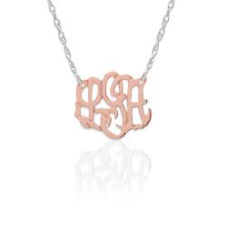 Gold Script Monogram on Sterling Silver Necklace