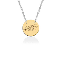 Engraved Gold Disc on Sterling Silver Necklace