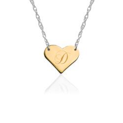 Gold Engraved Initial Heart on Sterling Silver Necklace