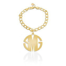 JBD329B Charm Bracelet with Block Monogram