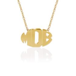 Gold Delicate 3 Initial Oval Block Monogram