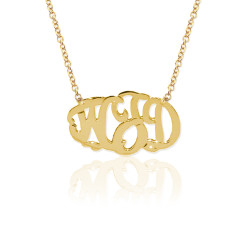 Gold Delicate 3 Initial Oval Script Monogram