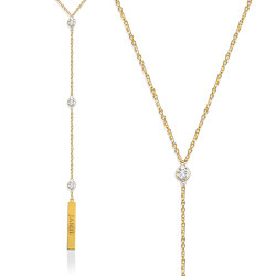 Lariat Necklace with CZ Accent and Engraved Bar
