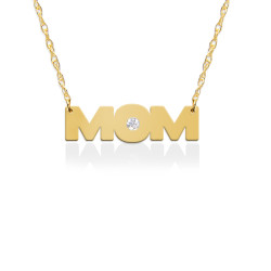 MOM Pendant w Diamond Accent