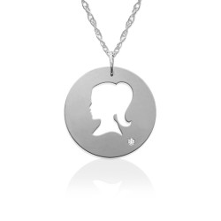 Little Girl Silhouette Pendant w Diamond Accent