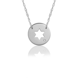 "1/2"" Star of David Disc Icon w Diamond Accent"
