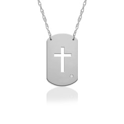 "3/4"" Cross Dog Tag Icon w Diamond Accent"