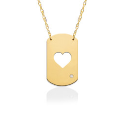 "3/4"" Heart Dog Tag Icon w Diamond Accent"