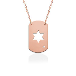 "3/4"" Star of David Dog Tag Icon w Diamond Accent"