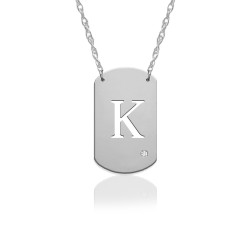 "3/4"" Initial Dog Tag Icon w Diamond Accent"