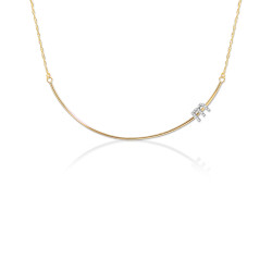 14K Gold Curved Wire Bar with Diamond Initial