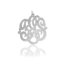 Fancy Script Monogram in .925 Sterling Silver