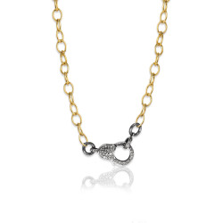 Oxidized SS & Diamond Lock on Link Chain