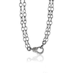Oxidized SS & Diamond Lock on Double Link Chain