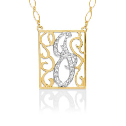 Rectangle Diamond Lace Pendant Necklace