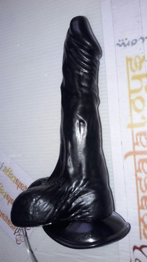 The Black Mamba - Stiff Black Cock Experience Dildo With Suction Cub & Vibrator,  Only at www.masalatoys.com