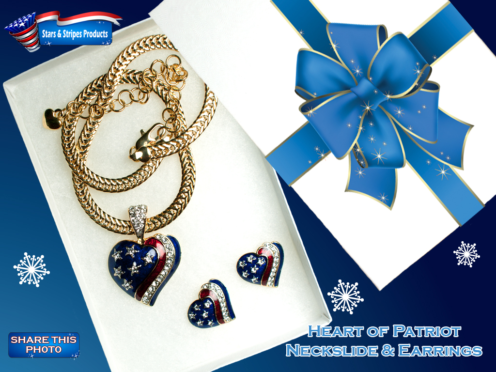 Heart of a Patriot Neckslide & Earrings