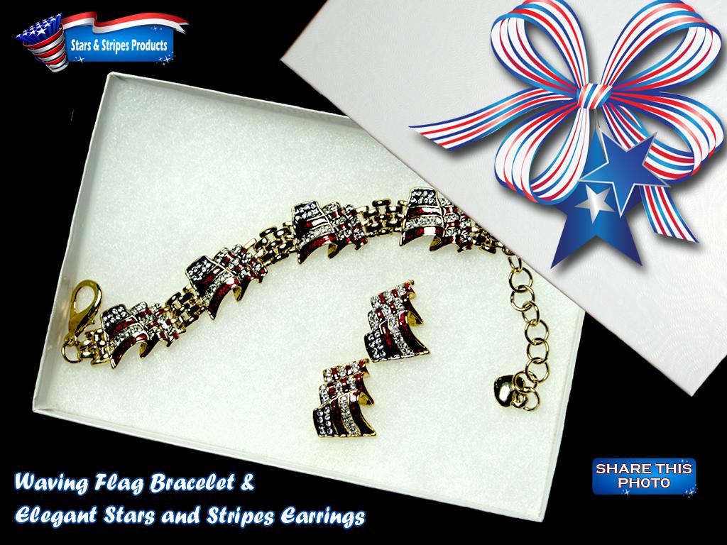 Waving Flag Bracelet & Earrings