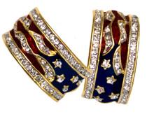 """Patriotic half-hoop earrings! Swarovski crystal, enamel, available in gold-plate ONLY. A Bestseller! (Approx. 1""""hoop x ½""""w). Post back."""