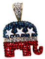 Just in time for election season! Red, White and Blue Crystals with White Enamel Stars adorn this beautiful elephant necklace in the Republican logo colors.