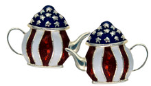 """Teapot earrings for the Tea Party patriot! Add some bling to your Tea Party with these enamel earrings with 13 stars. (Silverplate, size: 1""""W x 0.75""""H)"""