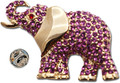 "Gold-plated elephant lapel-pin with brilliant pink Swarovski crystals.   Size: ¾""W x ½""H  NB: (This is a small lapel pin not a larger brooch/pin)"