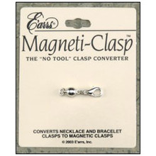 Gold or silver magnetic clasp. Converts necklace and bracelet clasps to magnetic clasps quickly and easily without tools.