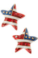 American flag star shaped stud earrings in red, white and blue enamel, with gold plate stars and red crystals. Post back, goldplate, lead free.