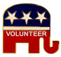 "An ideal lapel pin for volunteers during election season! The Republican logo is goldplate with red, white and blue enamel background and white stars in the shape of an elephant with the word ""Volunteer"" etched into the design."