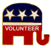 """An ideal lapel pin for volunteers during election season! The Republican logo is goldplate with red, white and blue enamel background and white stars in the shape of an elephant with the word """"Volunteer"""" etched into the design."""