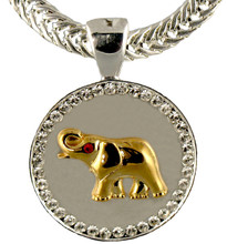 """Goldplate Elephant on a Satin Silver Coin surrounded by diamond like Swarovski crystals. Size: 1.25""""."""