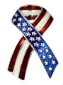 """Whether you know and care for a military service member personally or are a grateful fellow citizen, this Patriotic Ribbon Pin is a wonderful way to show your support and wish for their safe return. Featuring a stars and stripes motif in silver-plate, wearing this pin honors those who know the price of freedom. Red White and Blue enamel in silverplate. 1.5"""" Pin."""