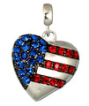 "This neckslide will surely symbolize your love for the US of A. The silver-plate heart shape has blue Swarovski crystals denoting the stars and red crystals for the stripes. Approx. 1.25""."