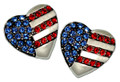 "These earrings will surely symbolize your love for the US of A. The silver-plate heart shape has blue Swarovski crystals denoting the stars and red crystals for the stripes. Approx. 1"". (Pierced Only with post back)."