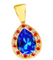 "Exquisite Cut Glass Teardrop neckslide with white diamond-like and red crystals surrounding a 3/4"" sapphire colored cut glass teardrop. Gold-plate."