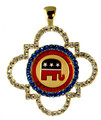 Fashionable open Alhambra design with Republican logo centerpiece.