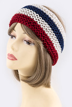 Red, white and blue acrylic open knit style headwrap is cozy and warm for the winter months.