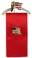"""Patriotic Hanger Pin with 4"""" Red Ribbon for displaying your favorite Pin. (Flag pin not included). Hanger width: 2""""."""