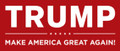 "TRUMP red silver-plate lapel pin with ""Make America Great Again"". Size: 1"""
