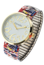 This watch with the Eagle printed on the band makes a great patriotic statement and is easy to wear with a stretch band.