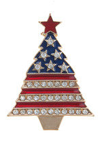 "Christmas tree pin/brooch with enamel background patriotic colors and ""diamond-like"" crystals. Gold and silver-plate."